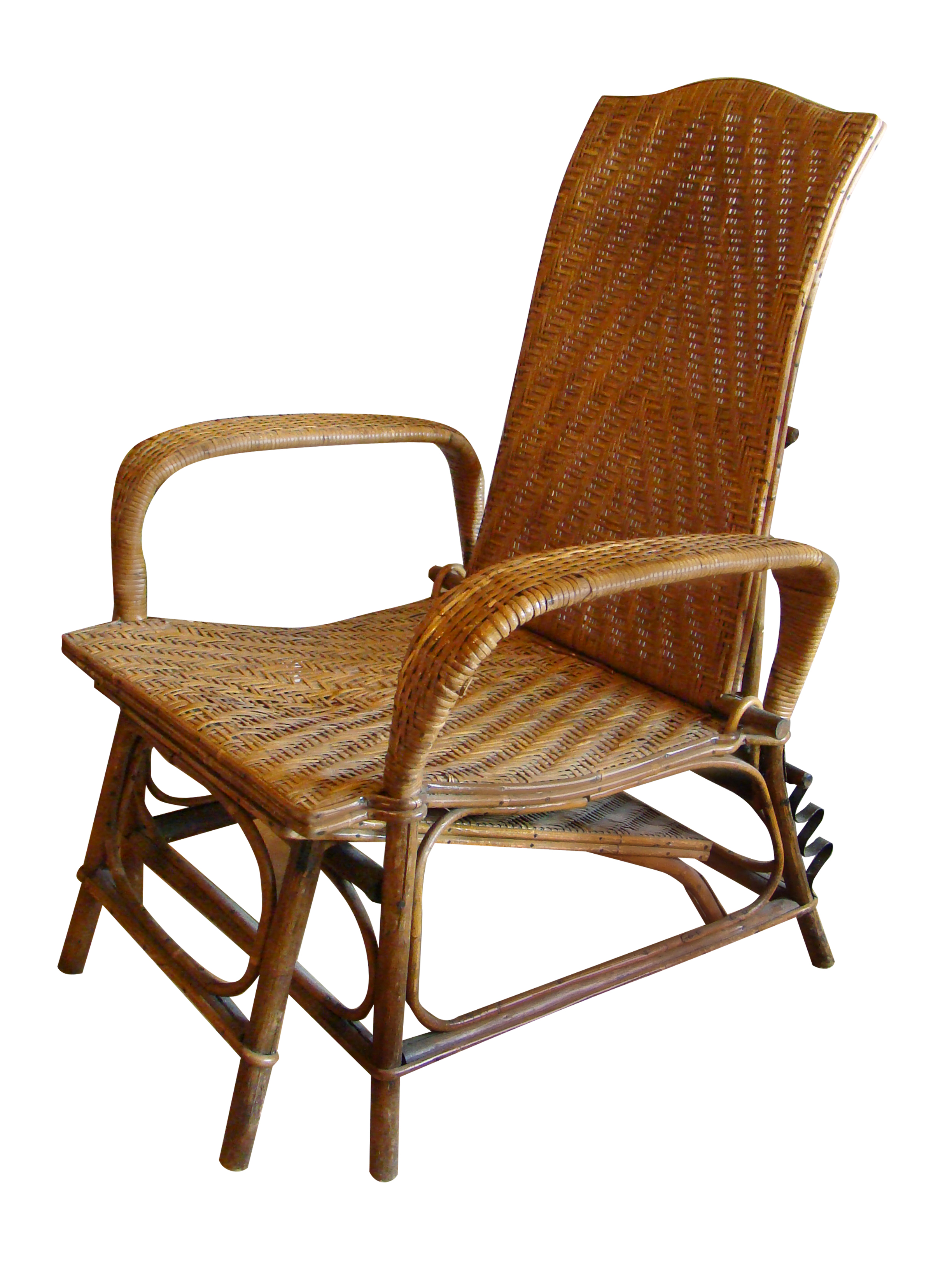 Colonial Era Bamboo Chase with Removable Footrest Adjustable Back