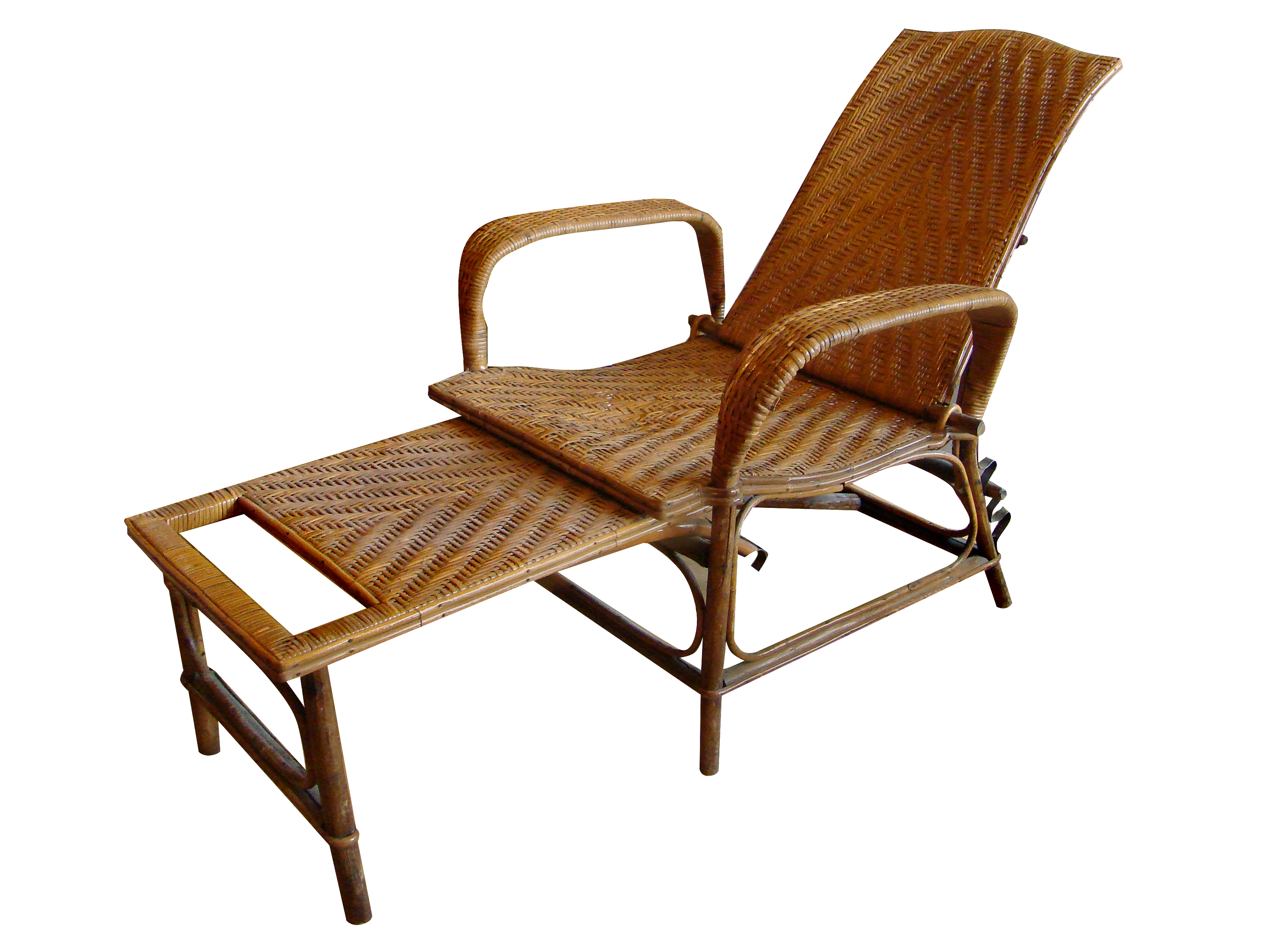 Colonial Era Bamboo Chase With Removable Footrest Adjule Back