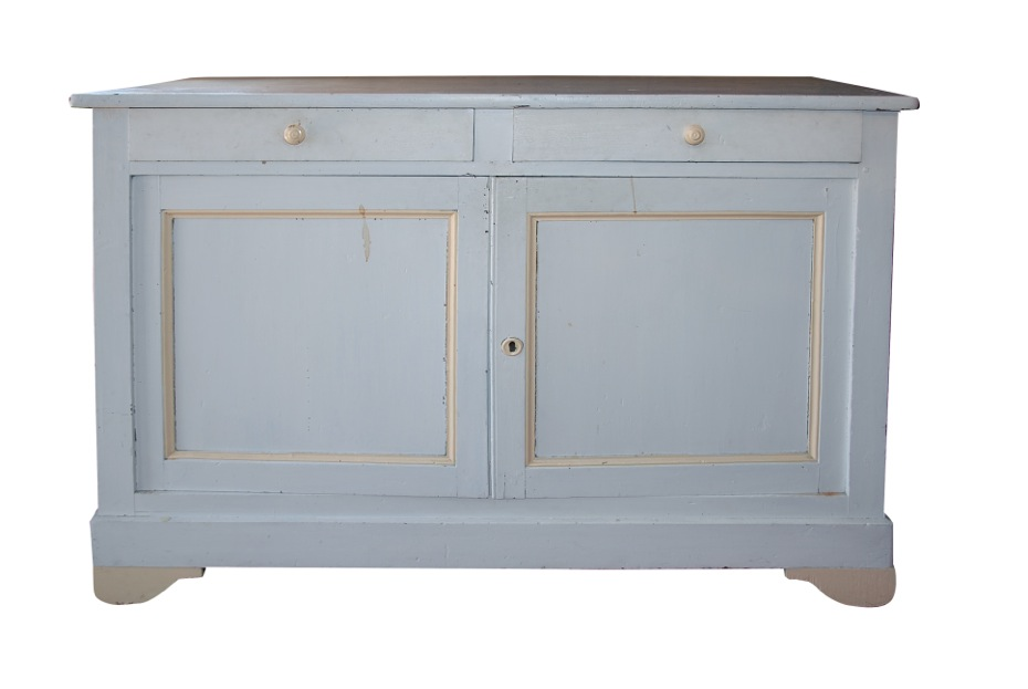 08 FRENCH OVER-SIZED BLUE PAINTED CABINET