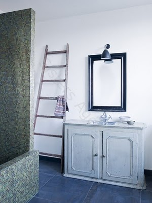 French painted cabinet in bathroom - at Le Barn / Rooms We Love