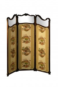 08 French 3 panel screen newly upholsterd chine motive