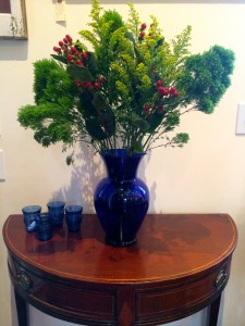 Ferns, Berries, Golden Rod in Blue Glass Vase